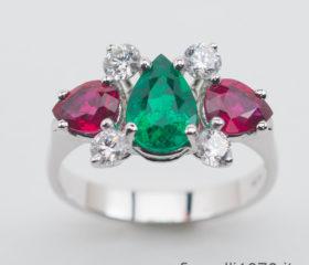 Anello Fantasia Smeraldo, Rubini e Diamanti
