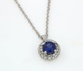 Collana Zaffiro blu e pavè di diamanti