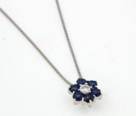 Collana Margherita con Diamanti e Zaffiri